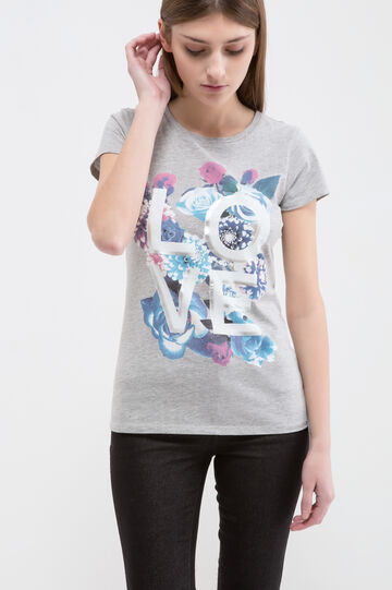 Cotton blend printed T-shirt, Grey, hi-res