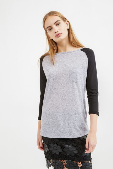 Linen blend T-shirt with raglan sleeves, Grey Marl, hi-res