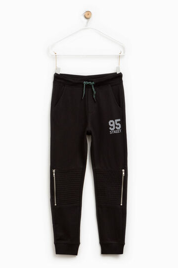 Trousers in cotton with print and zip