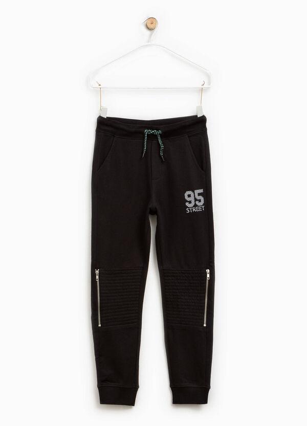 Pantalón de algodón con cremallera y estampado | OVS