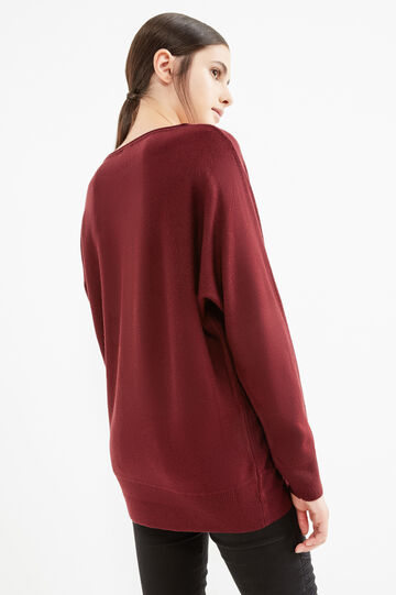 Solid colour boat-neck pullover, Aubergine, hi-res