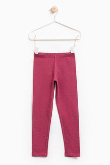 Stretch leggings with all-over print, Fuchsia, hi-res