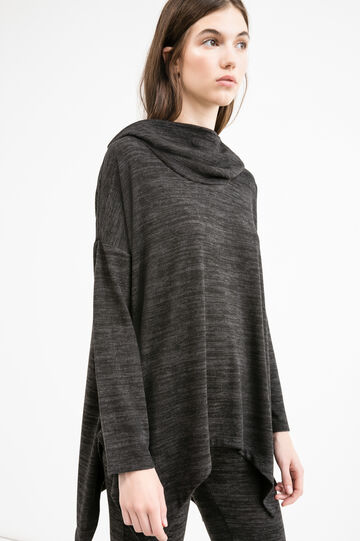 T-shirt in stretch viscose with high neck, Black/Grey, hi-res