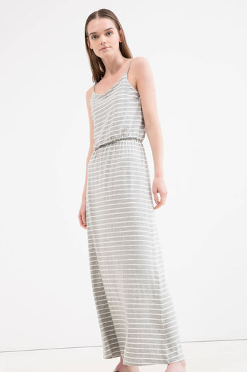 Striped dress in stretch viscose, White/Grey, hi-res