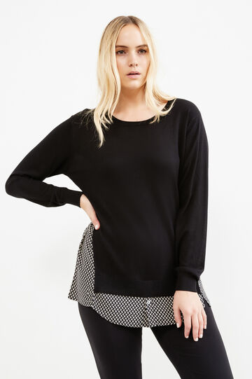 Curvy knit pullover with faux layer, Black, hi-res