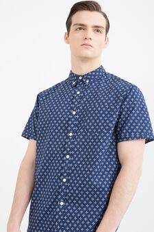 Camicia stampata puro cotone, Blu, hi-res