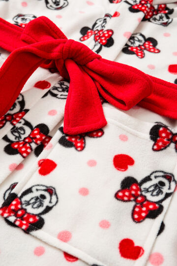 Fleece dressing gown with Minnie mouse print, Cream White, hi-res
