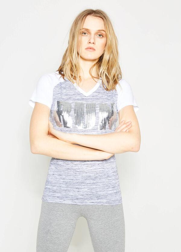 Camiseta en algodón jaspeado con lentejuelas | OVS