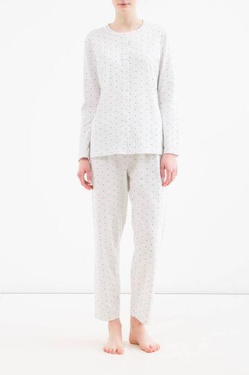 Heart and polka dot pyjamas in 100% cotton, Grey Marl, hi-res