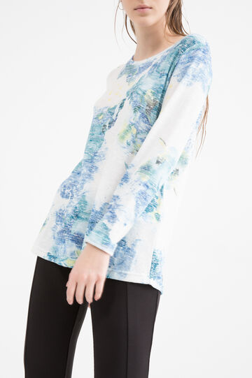 Viscose blend floral T-shirt, Denim, hi-res