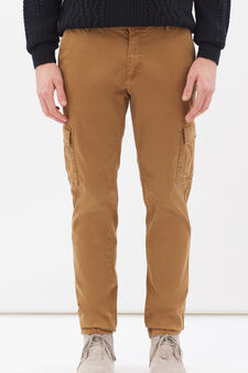 Stretch cotton cargo chinos, Ochre Yellow, hi-res