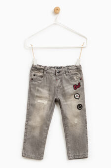 Worn-effect jeans with patches, Light Grey, hi-res