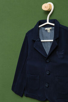 Embroidered jacket in 100% cotton., Navy Blue, hi-res
