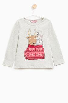 Maxi print T-shirt in 100% cotton, Grey Marl, hi-res