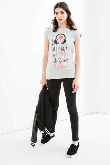 T-shirt cotone stretch stampa lettering, Grigio melange, hi-res