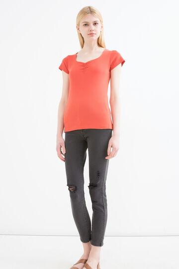 Solid colour T-shirt in 100% cotton, Orange, hi-res