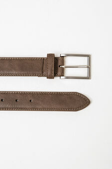 Solid colour belt with shiny buckle, Grey, hi-res