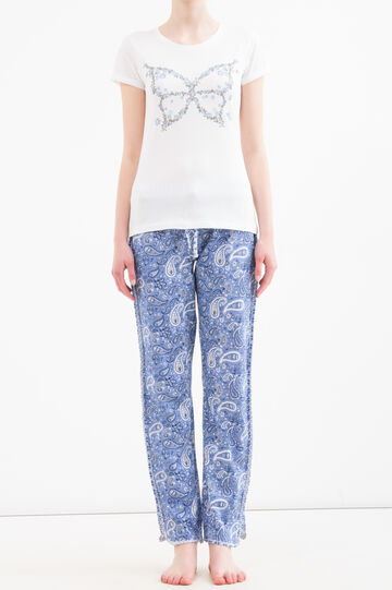 Cotton printed pyjama trousers, Blue, hi-res
