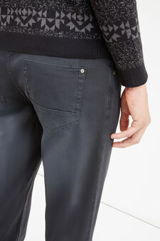 Solid colour skinny-fit trousers, Black, hi-res