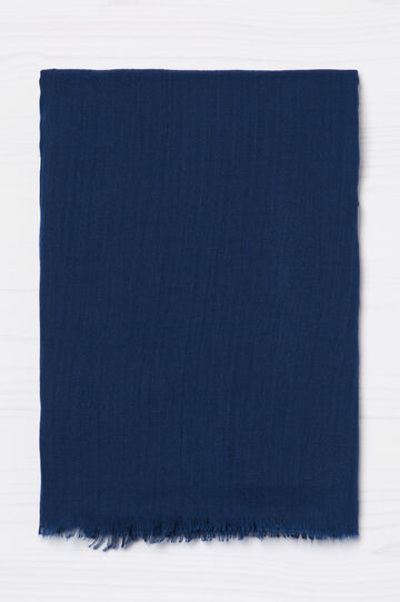 Solid colour fringed scarf, Blue, hi-res