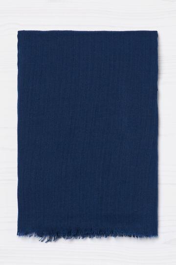Sciarpa sfrangiata tinta unita, Blu, hi-res