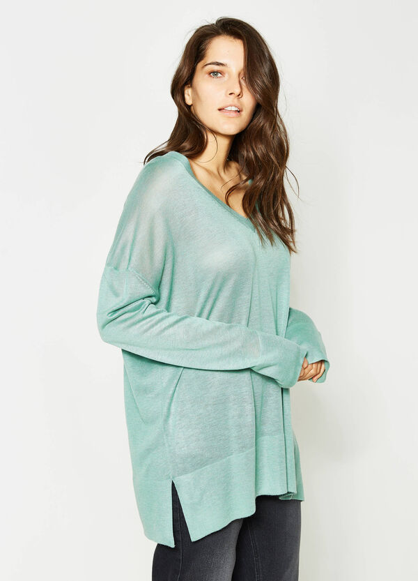 Curvy V-neck pullover with ribbing | OVS