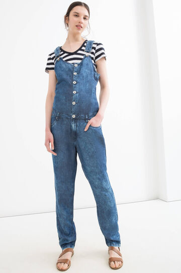 Mis-dyed denim dungarees