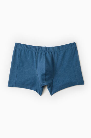 Solid colour stretch cotton boxer shorts, Denim Blue, hi-res