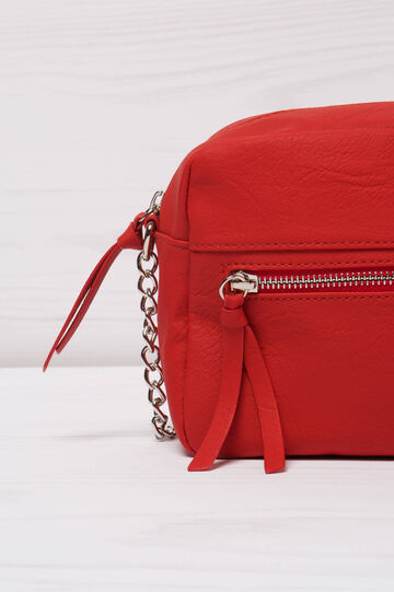 Leather look shoulder bag, Red, hi-res