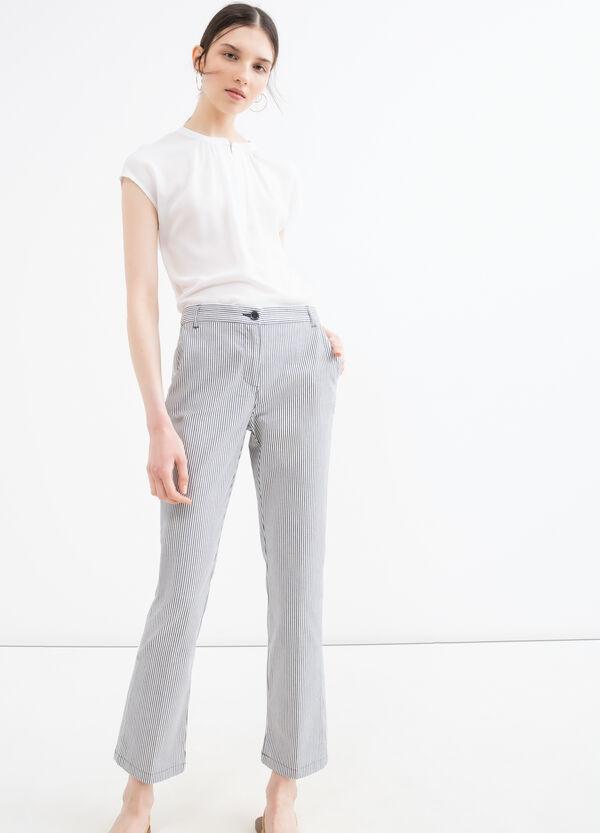 Stretch striped cotton trousers | OVS