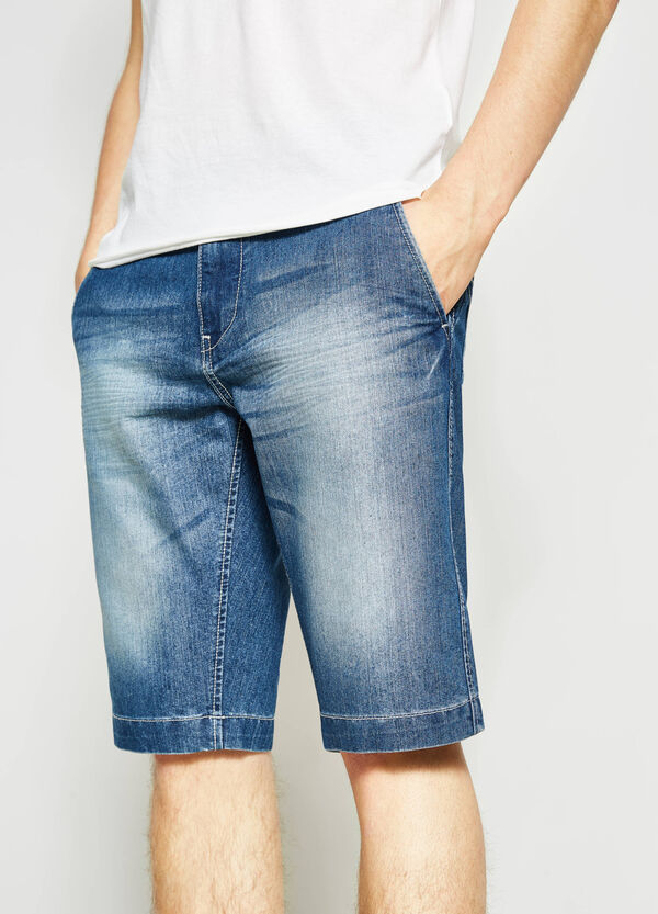 Straight-fit denim Bermuda shorts with zip | OVS