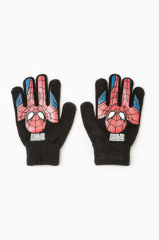 Spiderman print gloves, Black, hi-res