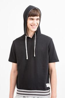 Printed sweatshirt with short sleeves, Black, hi-res