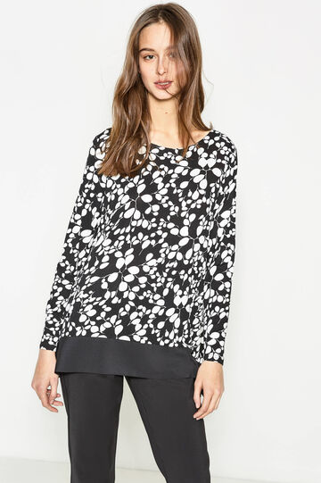 Floral T-shirt in stretch viscose, White/Black, hi-res