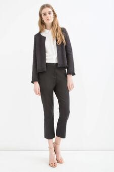 100% cotton embroidered jacket, Black, hi-res
