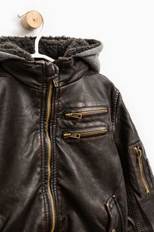 Leather look jacket with removable hood, Dark Brown, hi-res