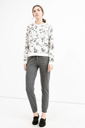 Pantaloni tuta lino cotone con coulisse, Nero, hi-res