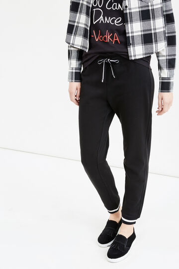 Joggers with elasticated ankles, Black, hi-res