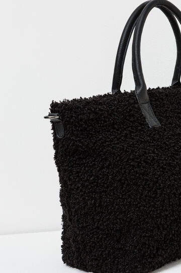Faux fur handbag, Black, hi-res