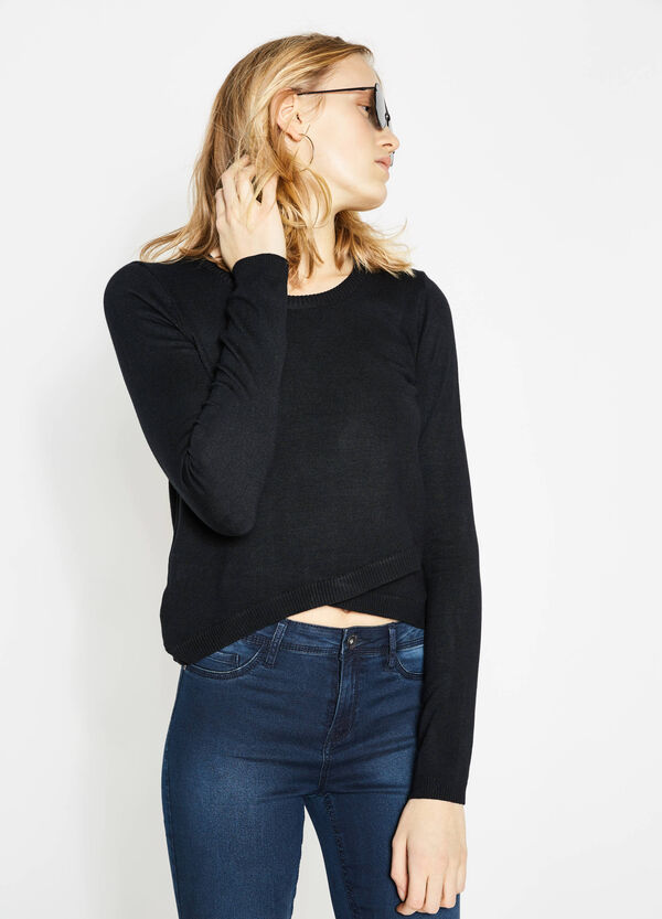 Viscose pullover with cross-over front | OVS