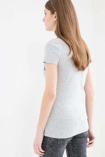 T-shirt puro cotone con stampa, Grigio chiaro melange, hi-res