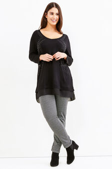 Curvy T-shirt with diamantés in viscose blend, Black, hi-res