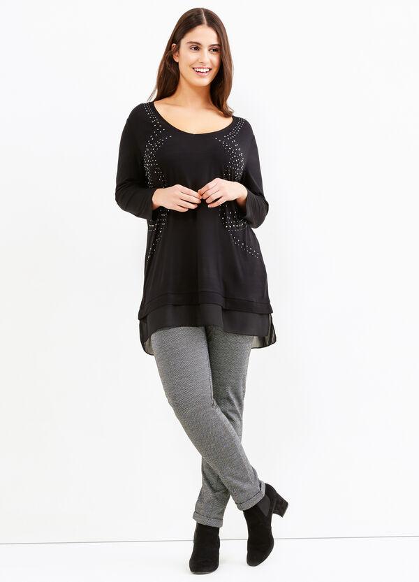 T-shirt misto viscosa con strass Curvy | OVS