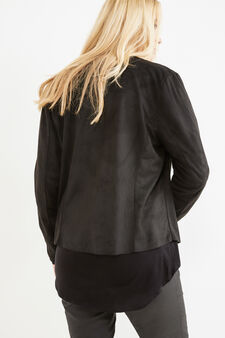 Curvy leather-look jacket with shawl neck, Black, hi-res
