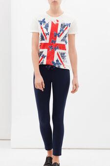 Stretch cotton blend leggings, Navy Blue, hi-res