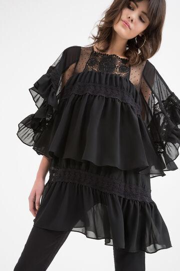 Short dress with frills, Black, hi-res