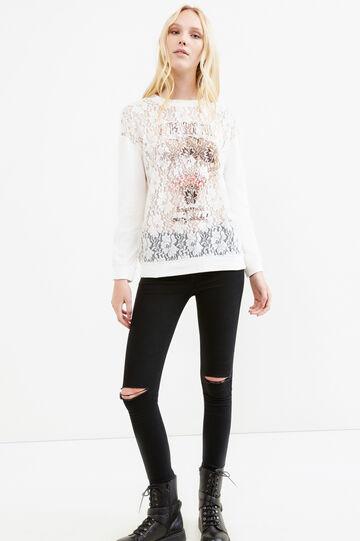 T-shirt cotone stampata con pizzo, Naturale, hi-res
