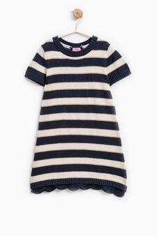 Striped dress with lace hem, Blue, hi-res