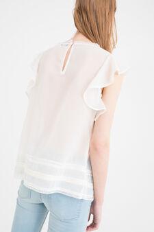Semi-sheer pleated blouse, Cream White, hi-res