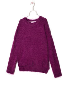 Wool blend pullover with shaggy insert, Purple, hi-res
